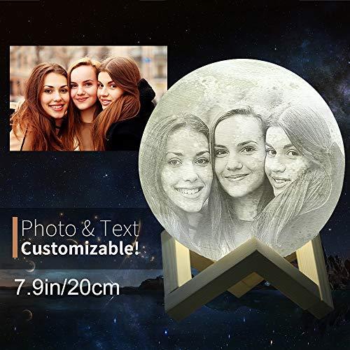 isierbar (Foto, Text, Muster) auf dem Mond, 3D-Druck, Mondkugel Licht, leuchtende Mondlampe, Touch-Wechsel in 2 Farben, (7.9Zoll/20cm) ()