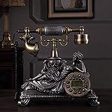 Health UK Telefon- Europäisches antikes Knopf-Wahltelefon, Blauer Bildschirm-Hintergrundbeleuchtung-Retro- Festnetz Welcome