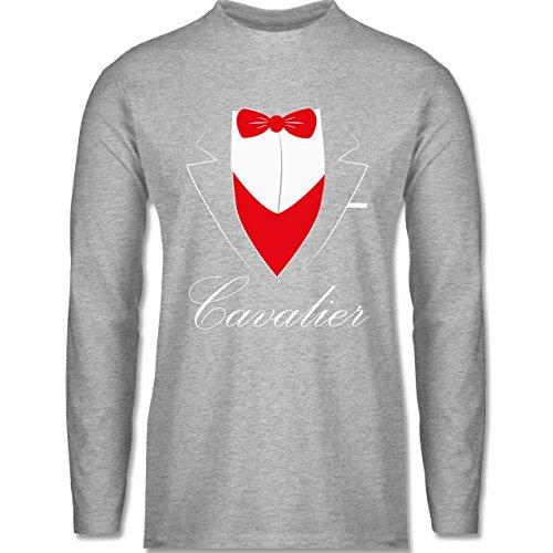 Statement Shirts Cavalier Anzug Longsleeve / langärmeliges TShirt für Herren  Grau Meliert