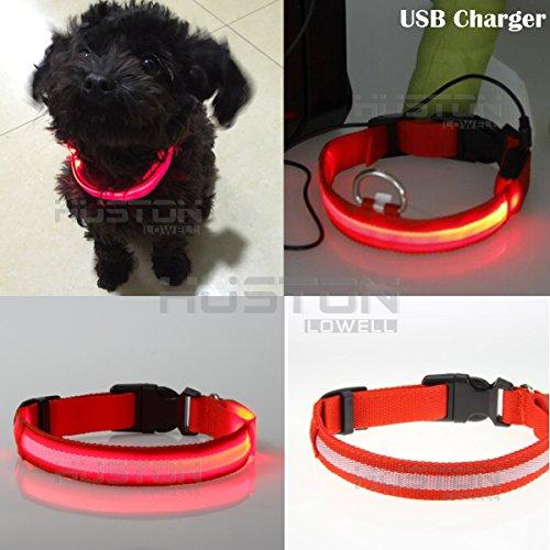 Auction House - USB Collar del Perro LED Recargable - Mejora deL Perro Visibilidad y Seguridad - 7 Colores y 4 Tamaños - LED Ultrabrillante Resplandor y - Se Conecta a Dispositivos de Recargar - No Necesita Pilas - Gran Diversión y Mejora la Visibilidad y la Seguridad del Perro(BLANCO) (S:32CM-40CM, ROJO)