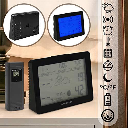 Funkwetterstation mit Funkgesteuerten Außensensor | Blau Displaybeleuchtung, Temperaturanzeige , Alarm-Funktion, Luftdruck, Modellewahl | Wetterstation mit Vorhersage, Wetterstation Uhr, Wetterprognose (Modell 1)