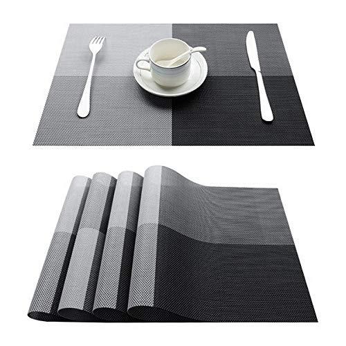 TKWL Tischset Bambus Kunststoff Tischset Für Tischset Abdeckung Leinen Tischset In Küche Besteck Matte Kaffee Tee Matte Set von 10 C-Schwarz