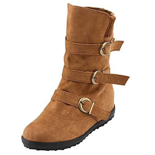 JURTEE Damen Langschaft Stiefel Wildleder Runde Zehe Reißverschluss Flache Reine Farbe Schnalle Halten Warme Schneeschuhe Schlupfstiefel