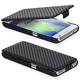 DONZO Handyhülle Flip Cover Case für das Samsung Galaxy Core 2 / G355H in Schwarz Flip Carbon-Style als Etui seitlich au