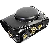 First2savvv XJPT-G7XII-01 Funda Cámara cuero de la PU cámara digital bolsa caso cubierta con correa para Canon PowerShot G7 X Mark II .G7X M2 negro