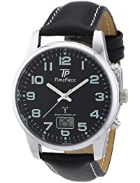 Time Piece Herren-Armbanduhr Funk Lederband Analog Quarz Leder TPGA-10229-22L
