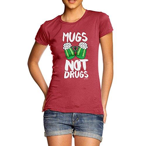 TWISTED ENVY Damen T-Shirt Mugs Not Drugs St Patrick's Day Print Rot