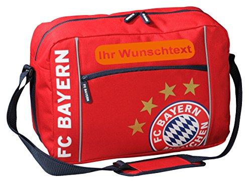 FC Bayern Schultertasche mit Ihrem Wunschtext (Plakette) Orange