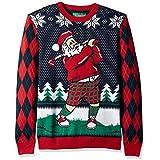 Christmas Ugly Sweater Co Men's Ugly Christmas Sweater-Golfing Santa