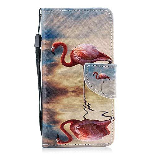 Hülle Huawei P Smart Handytasche Handyhülle Flip Case Cover Schutzhülle Luxus Bunt Hülle Ledertasche Lederhülle Bookstyle Klapphülle Kartenfächer Magnetverschluss,Pink Flamingos