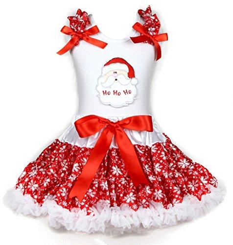 Costume natalizio Babbo Natale Face Camicia Bianco in cotone rosso Fiocco di neve Gonna Set (Babbo Neve Natale)