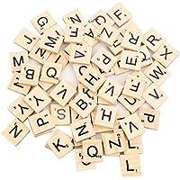 100 Stück Scrabble Buchstaben Scrabblefliesen zum Spielen | Scrabblesteinen Ersatz Fliesen aus Holz für Handwerk Dekoration | Scrabblesersetzer mit Zahlenwerte | Beyond Dreams