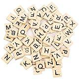 100 Stück Scrabble Buchstaben Scrabblefliesen zum Spielen | Scrabblesteine Ersatz Fliesen aus Holz für Handwerk Dekoration | Scrabblesersetzer mit Zahlenwerten | ideal für unterhaltsame lustige Spieleabende mit Freunden und in der Familie | Beyond Dreams |