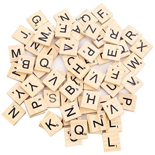 100 Stück Scrabble Buchstaben Scrabblefliesen zum Spielen | Beyond Dreams Scrabblesteine Ersatz Fliesen aus Holz | mit Zahlenwerten | ideal für Spieleabende mit Freunden und in der Familie |