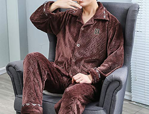 JZX Coral Velvet Pajamas, Men's Winter Thickening Plus Velvet Warm Suit,Marron,XXL