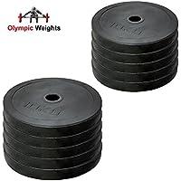 Set de discos olímpicos para pesas de MaxStrength, de goma, con orificio de 5