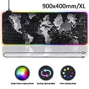 RGB Gaming Mauspad 900×400 Mousepad für Gaming Maus Tastatur, RGB Mauspad XL Mousepad Gaming mit 14 LED Beleuchtungs-Modi Mausepad Groß Wasserdicht Anti Rutsch Matte für PC, Computer, Schwarz