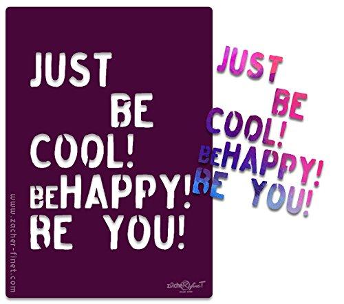 Buchstabenschablone 'Be happy!'- Textschablone - Schablone - Schriftschablone siehe Musterfotos - XL A3 - von zAcheR-fineT (DIN A4)