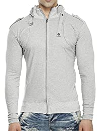 Tees Collection Men's Full Zip Buckle Neck Full Sleeve Grey Colour T-shirt