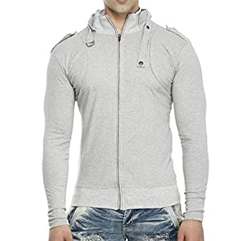 Tees Collection Men's Full Zip Buckle Neck Full Sleeve Grey Colour T-shirt (Small)