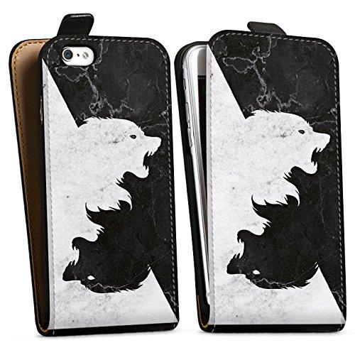 Apple iPhone 6s Hülle Silikon Case Schutz Cover Game of Thrones Wolf GOT Downflip Tasche schwarz
