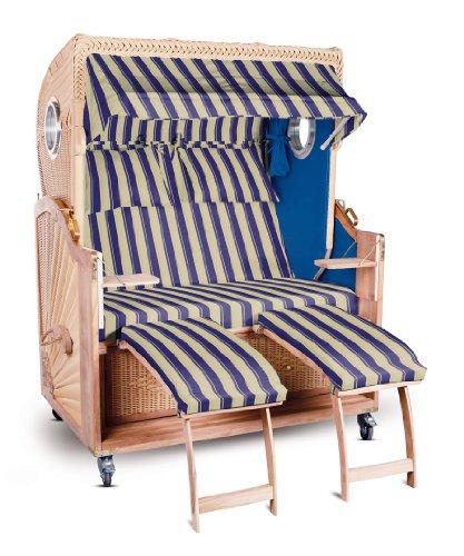 Strandkorb Kampen Spezial 2-Sitzer Blau Beige gestreift Seiten Blau mit Bullauge