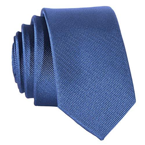 DonDon Schmale jeansblaue handgefertigte Krawatten 5 cm