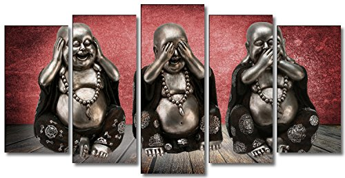 DekoArte 20 – Cuadro modernos, 3 Budas ver, oír y callar, lienzo de 5 piezas, 150 x 80 cm, fondo de color rojo