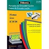 Fellowes 5100301 - Portadas para encuadernar de PVC opaco, A4, negro