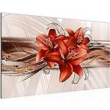 Bild Blumen Lilien Wandbild Vlies - Leinwand Bilder XXL Format Wandbilder Wohnzimmer Wohnung Deko Kunstdrucke Braun 1 Teilig - MADE IN GERMANY - Fertig zum Aufhängen 008714b