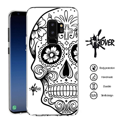 Inkover cover samsung galaxy s9 plus custodia cover guscio trasparente sottile slim fit tpu gel morbida design skull teschio messicano teschi messicani colorati tattoo tatuaggio
