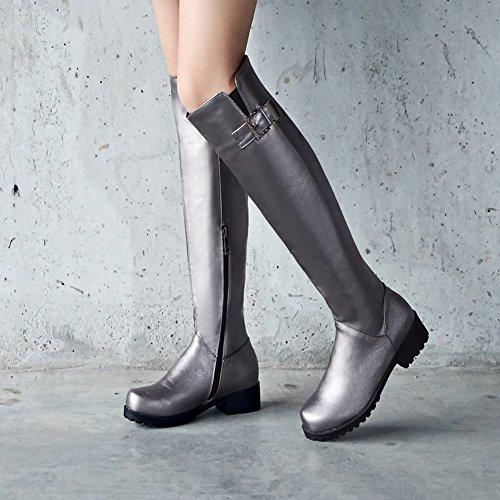 Mee Shoes Damen chunky heels Reißverschluss langschaft Stiefel Taupe
