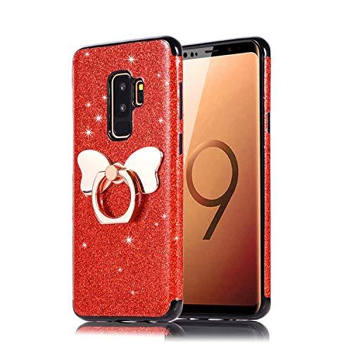 Preisvergleich Produktbild Misstars Glitzer Hülle für Galaxy S9 Rot,  Bling Pailletten Weiche TPU Silikon Handyhülle Anti-Rutsch Kratzfest Schutzhülle mit Schmetterling Ring Ständer für Samsung Galaxy S9