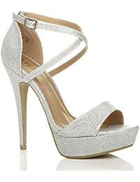 Sandali eleganti argentati con punta aperta per donna