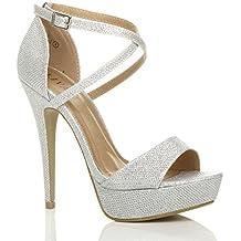 Donna tacco alto fibbia cinturini incrociati scarpe punta aperta sandali  taglia fb5c57952c0