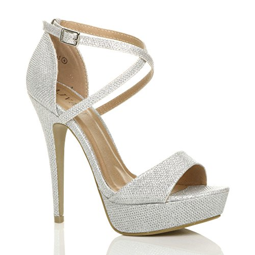 Donna tacco alto fibbia cinturini incrociati scarpe punta aperta sandali taglia 6 39