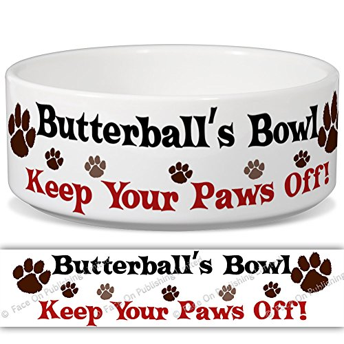 butterballs-bowl-keep-your-paws-off-personalised-name-ceramic-pet-food-bowl-180mm-x-77mm-large