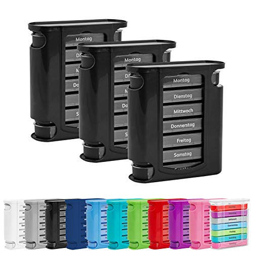 3x WELLGRO® Tablettenbox für 7 Tage - je 4 Fächer pro Tag - 11,5 x 4,5 x 13 cm (BxTxH) - Farbe wählbar, Farbe:Schwarz