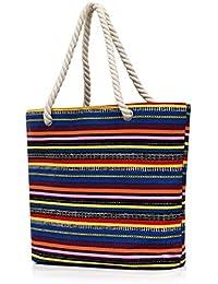 Dreamdeer Bohemian Design Large Striped Beach Bag Tote Bag With Inner Pockets Women