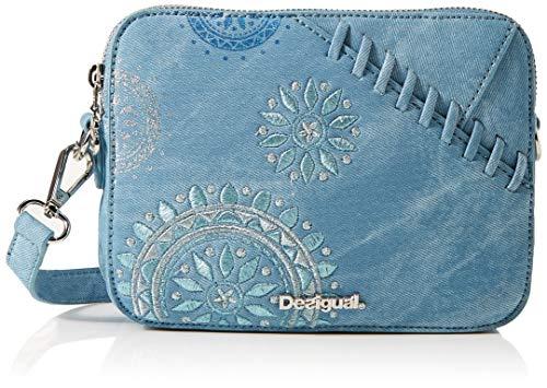Desigual - Bag Patch Mandala Edson Women, Bolsos bandolera Mujer, Azul (Azul Palo), 8x14.5x19.5 cm...