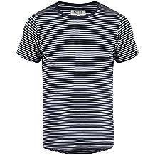 Indicode Agaro Camiseta De Rayas Básica De Manga Corta para Hombre con Cuello Redondo de 100