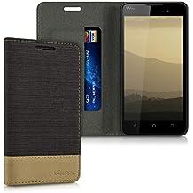 kwmobile Funda para Wiko Lenny 2 - Case con tapa cover de tela con cuero sintético - Carcasa plegable antracita marrón