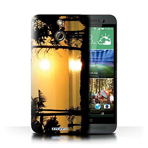 Kobalt® Imprimé Etui / Coque pour HTC One/1 E8 / Bateau de pêche conception / Série Coucher du Soleil arbres tropicaux