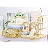 Gold Desk Tidy with Drawer, Gold Mesh Desk Organiser, Multifunction Metal Desk Caddy with Drawer, Yellow Gold Stationary