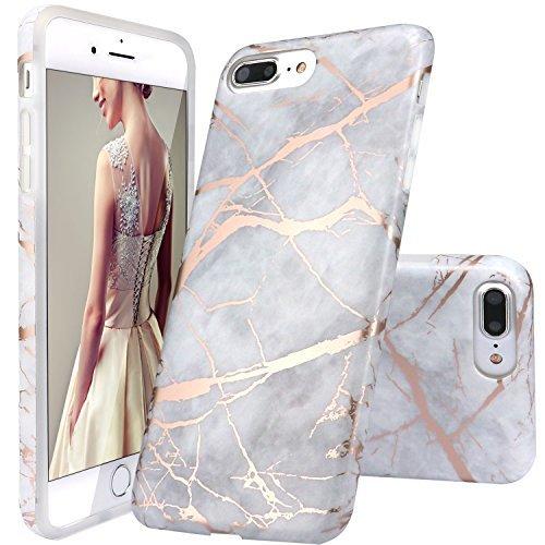 iPhone 7 Plus Hülle, RUILING Grau Rose Gold Marmor Serie Flexible TPU Silikon Schutz Handy Hülle Handytasche HandyHülle Etui Schale Case Cover Tasche Schutzhülle für Apple iPhone 7 Plus