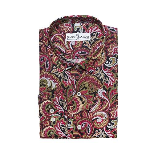 Herren Hemd, 100% Baumwolle, regulŠre Passform, bedruckt mit floralem Paisley-Muster, S M L XL 2XL 3XL 4XL, Kragenweite 37Ð48 cm - Red Green Paisley
