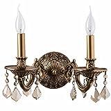candelabro da parete splendido colore ottone antico topazio cristallo decorativo con pattern decorativo in stile barocco classico 2-bulb esclud.E14 2x60W 230V