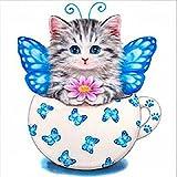 5D Peinture Au Diamant DIY, Honestyi Little Kitty Complete Peinture Broderie Strass collé 5D DIY Diamond Cat Decor Painting