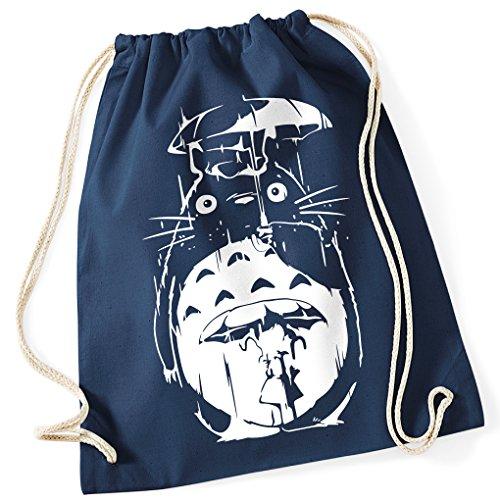 Mein Nachbar Totoro Umbrella Rain Studio Ghibli / Turnbeutel mit Fun Motiv Aufdruck / Rucksack GYM / Ideales Geschenk, Farbe:French Navy (Dunkel Blau)