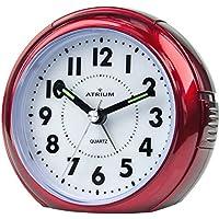 ATRIUM sveglia analogica rossa senza ticchettio, con luce e funzione snooze A240-1